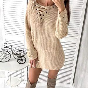 Light Beige Lace Up Oversized Knit Sweater Dress